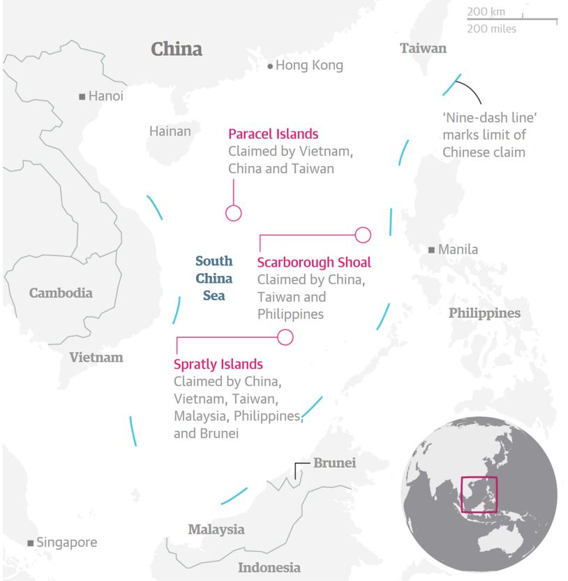 Demarcation of the 'nine-dash line' with respect to the South China Sea and the Southeast Asian region (Image Source: The Guardian)